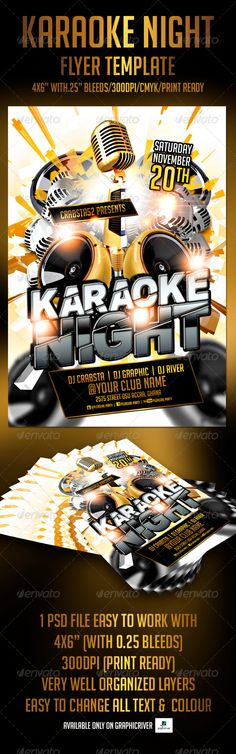 Karaoke Night | Karaoke, Flyer Template And Party Flyer