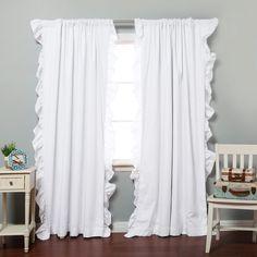 White Ruffle Trim Blackout Curtain