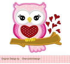 Valentine's Day Sweet Owl 01 Applique -4x4 5x7 6x10-Machine Embroidery Applique Design. $2.99, via Etsy.