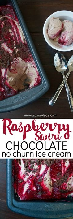 Grab a spoon and dig into this gorgeous dessert! Raspberry Swirl Chocolate No Churn Ice Cream is a homemade ice cream that is so easy to make with no machine! A light chocolate ice cream with chunks of dark chocolate and a sweet raspberry swirl. This froz
