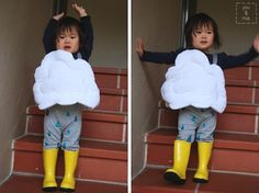1 Owl Owl Costume: Still looking for a Halloween costume for your kiddo? Here's an easy way to turn a t-shirt into an owl costume in a couple of hours without any. Last Minute Halloween Costumes, Fall Halloween, Halloween Games, Costume Halloween, Halloween Outfits, Halloween Party, Rain Cloud Costume, Rain Costume, Cloud Tutorial