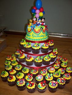 Mickey Mouse cake tower- Jennifer.....idea for Cade's bday party!!
