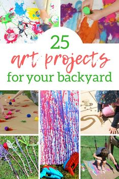 Why not take art projects outside this summer? These 25 backyard art activities for kids are the perfect DIY projects to get the kids outdoors this summer! Check out this post by Wunder Mom and try them all! Summer Art Projects, Craft Projects For Kids, Summer Crafts, Diy Crafts For Kids, Art For Kids, Arts And Crafts, Backyard Projects, Summer Fun, Crafts Cheap
