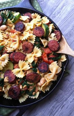 Smoked Sausage, Spinach and Toasted Pine Nut Pasta: a quick and easy weeknight dinner idea // A Cedar Spoon