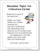 Literature Circles Discussion Prompts and other free printables from Laura Candler's Teaching Resources