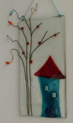 House with a beaded tree. Fused glass painting, wall hanging on Etsy, $55.00
