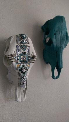 Aztec Design Hand Painted Cow Skull by ArtbyMaleeMalu on Etsy