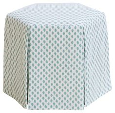 Savannah Skirted Ottoman, Sky Blue Dots - One Kings Lane - Brands Round Ottoman, Upholstered Ottoman, Space Themed Nursery, Blue Cocktails, Cocktail Ottoman, Distressed Furniture, Club Chairs, E Design, Savannah Chat