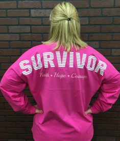 Survivor Spirit Tee Whether you beat cancer or know someone who has, this is the perfect jersey to create awareness. This very comfortable spirit tee is roomy and long making it a great shirt to wear #breastcancerinspiration