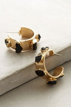DANI BARBE via ANTHROPOLOGIE Tourmaline Mini Gold Hoop Earrings. Available here: http://rstyle.me/n/chh839bcukx