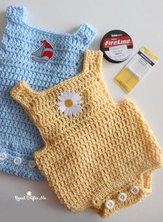 Crochet Baby Romper - Repeat Crafter Me Baby Romper Pattern, Baby Hat Knitting Pattern, Baby Hat Patterns, Baby Clothes Patterns, Baby Hats Knitting, Beanie Pattern, Clothing Patterns, Crochet Romper, Baby Girl Crochet