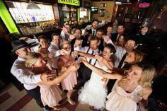 Wedding Party Photo idea | Pre gaming at a bar | Logan Walker Photography