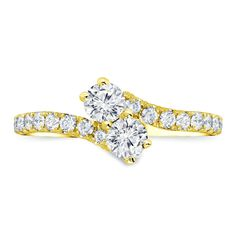 14k Gold Round-cut Two-stone Diamond Engagement Ring (1/2 cttw, J-K, I1-I2) Size 4-9