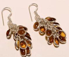 Sterling Silver BALTIC AMBER Petals Dangle Drop Earrings STUNNING #MGK #DropDangle