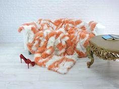 """Luxury genuine fox fur throw, blanket, white & salmon colour, 90"""" x 78"""", #078"""