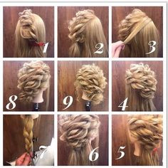 Seiya Iida Arrangement de Cheveux / Couleur de l& / Gradation , Easy Updos For Medium Hair, Medium Hair Styles, Curly Hair Styles, Curly Hair Updo, High Bun Hairstyles, Pretty Hairstyles, Wedding Hairstyles, Peinado Updo, Shoulder Length Curly Hair
