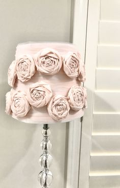 Excited to share this item from my shop: Floral design lamp shade Lamp Shades Uk, Feather Lamp, Large Feathers, Pink Peonies, Lamp Design, Rosettes, Primary Colors, Night Light, Red Roses