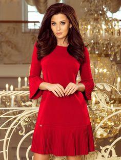 Dámske spoločenské šaty 228-3 červené High Neck Dress, Dresses With Sleeves, Long Sleeve, Fashion, Gowns With Sleeves, Moda, Sleeve Dresses, Full Sleeves, Fasion