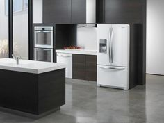 Trends in appliance colors come and go. Remember those avocado green appliances of yesteryear? Since stainless steel has been the trend in modern kitchens for the past few years, we're wondering what's next. Maybe Whirlpool's new white ice?