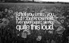 i'd tell you i miss you, but i don't know how i've never heard silence quite this loud. - taylor swift, the story of us