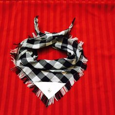 Sharp Black & White checked scarf for your dog by FabricConcepts