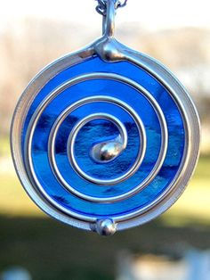 Stained Glass Pendant Necklace Spiral Royal Blue, wire, suncatcher