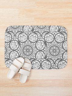 'Mystical White Black Design' Bath Mat by Shane Simpson Bath Mat Design, Bath Mats, Mystic, Retro, Prints, Stuff To Buy, Black, Bath Rugs, Black People