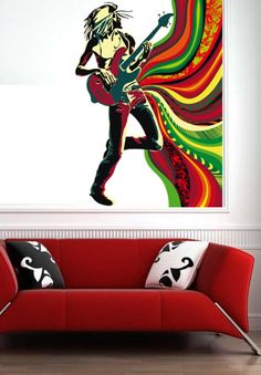 Artisic Guitar Man 2 Color People Music  Vinyl Wall от uBerDecals