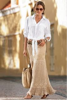 love the fresh, easy look with a crochet maxi skirt. mine is white. what to wear with it?