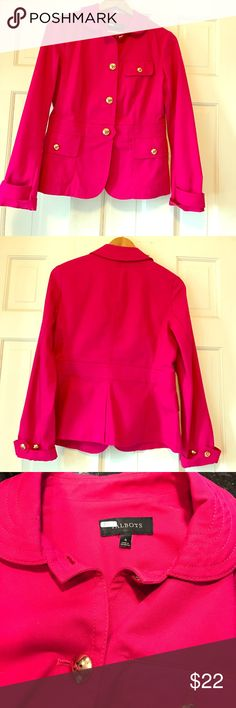 NWOT Talbots Jacket Brand new, never worn Talbots jacket. Beautiful vivid pink color trimmed with shiny gold buttons. 97% cotton, 3% spandex. Size 6. So chic! Talbots Jackets & Coats
