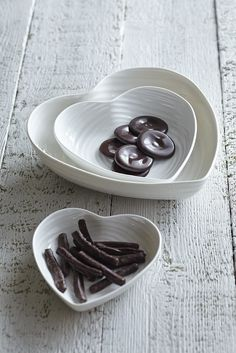 White Ceramic Heart Bowls: from £20.00 http://www.sophieconran.com/china/white-china-bowls-heart