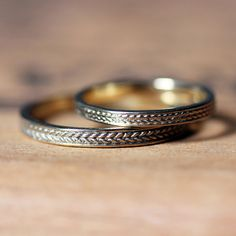 Gold braided ring wedding band set gold wheat ring recycled