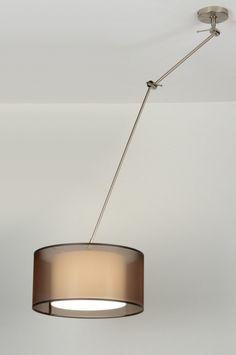 hanglamp 30305: modern, staal , rvs, stof, bruin, rond ...