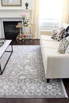 Grey Oushak Turkish rug, Wayfair rug, Unique Loom Arcadia Light Grey Rug, Living room rug, Grey rug, vintage rug brass bar cart