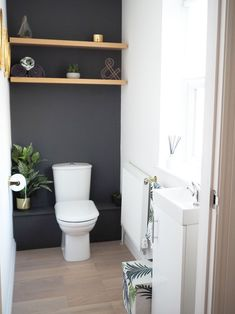 downstairs bathroom dark grey and gold with shelves