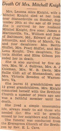 Sunday's Obituary: Leanna Jollett Knight #genealogy