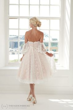 House of Mooshki 2020 Spring Bridal Collection – The FashionBrides Wedding Dresses Short Bride, After Wedding Dress, Blush Pink Wedding Dress, Gold Bridesmaid Dresses, Lace Wedding Dress With Sleeves, Tea Length Wedding Dress, Wedding Dresses For Sale, Bridesmaids, Short Dresses