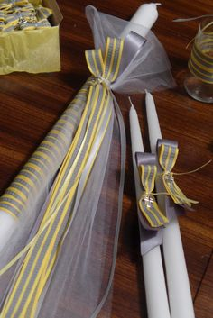 Modern Bow Lambada Set for Greek Orthodox Baptism by KoulEvents Church Candles, Diy Candles, Baby Baptism, Christening, Bomboniere Ideas, Baptism Candle, Greek Easter, Palm Sunday, Kids Events