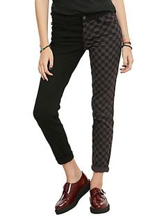Royal Bones By Tripp Black & Grey Checkered Split Leg Skinny Jeans, BLACK, hi-res