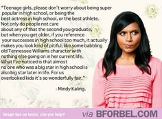 Mindy Kaling's advice for teenage girls- being overlooked is actually a good thing