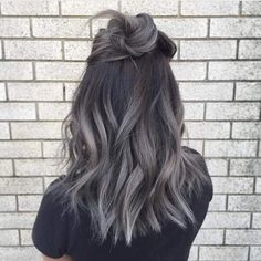 trendy hair color ideas for brunettes for winter ombre – Hair – Hair is craft Hair Color Highlights, Ombre Hair Color, Hair Color Balayage, Cool Hair Color, Hair Colour, Brown Highlights, Brunette Highlights, Gray Balayage, Black Hair With Grey Highlights