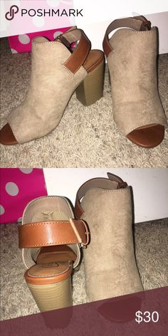 Tan heeled shoes These have been worn once but are in perfect condition! Candie's Shoes Heels