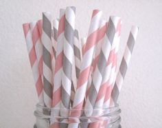50 Pink Grey Combo Striped Paper Straws w/ Printable DIY Flags / Wedding Birthday Baby Shower Party / Cake Pops. $8.00, via Etsy.