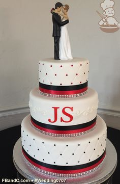 "Design W 0707 | Fondant Cover Wedding Cake | 12""+9""+6"" 