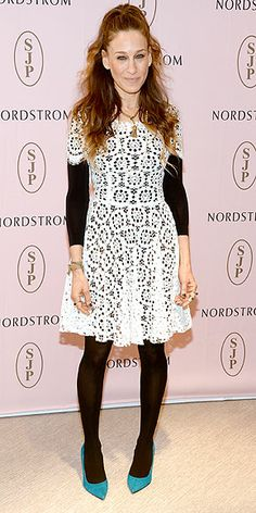 Last Night's Look: Love It or Leave It? | SARAH JESSICA PARKER | It's all about the footwear for SJP at the unveiling of her new shoe collection in L.A. The actress-turned-designer winterizes her white lace Dolce & Gabbana dress with a black top and tights, making a statement with her turquoise heels.