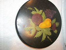 ANTIQUE/VINTAGE METAL TIN WITH PAINTED FRUIT SCENE