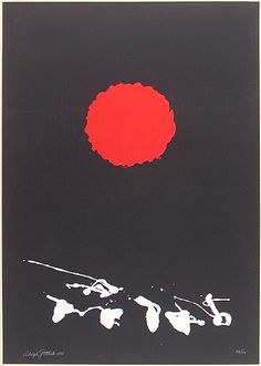 Black Ground—Red Disk (A.A.A.34) . Original color lithograph, 1966. 50 signed & numbered impressions on Arches paper. One of Gottlieb's most beautiful prints. Image size: 718x507mm.