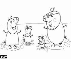 desenho de Família da Peppa Pig e as poças para colorir