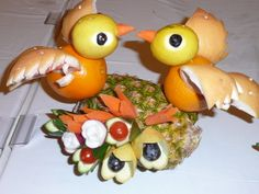 Fruit and vegetable sculptures on our Alaskan Cruise