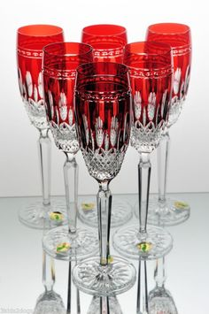 6 Waterford Clarendon Ruby Red Cut to Clear Crystal Wine Champagne Flutes New